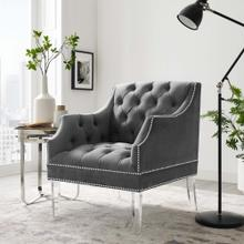 Proverbial Tufted Button Accent Performance Velvet Armchair in Gray