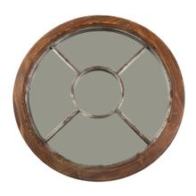 "Wood Frame 30"" Wall Mirror, Brown, Wb"