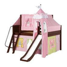 Low Loft Bed with Angle Ladder, Slide, Tower, Top Tent & Curtain : Full : Chestnut : Panel