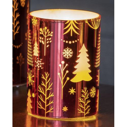 """4"""" Red Pine Trees LED Candle"""