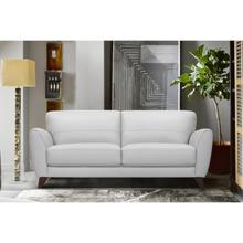 Jedd Contemporary Sofa in Genuine Dove Grey Leather with Brown Wood Legs