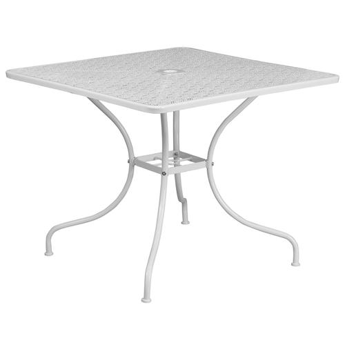 """Commercial Grade 35.5"""" Square White Indoor-Outdoor Steel Patio Table"""
