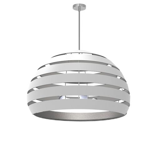 4lt Chandelier Pc, Wh/slv Shade