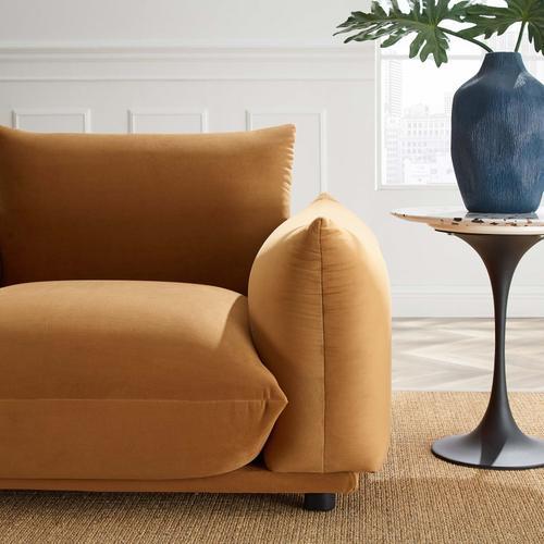 Modway - Copious Performance Velvet Armchair in Cognac