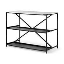 Lucas IV Black Two-Tier Iron Body White Marble Top Kitchen Island