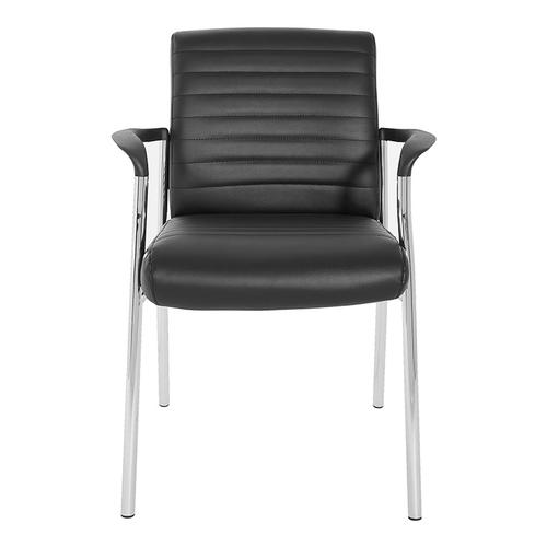 Guest Chair In Black Faux Leather With Chrome Frame