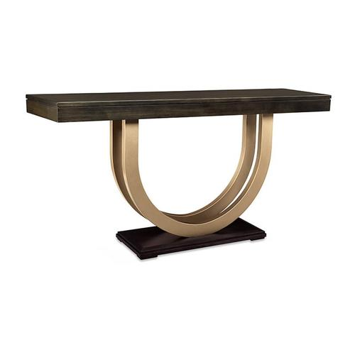 """- Contempo Pedestal 72"""" Sofa Table with Metal Curves"""