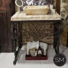 Travertine Bathroom vanity counter top with onyx sink + Hand forged base