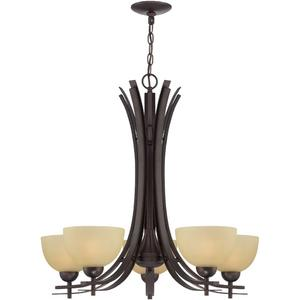 5-lite Ceiling Lamp, Dark Bronze/glass Shade, E27 A 60wx5