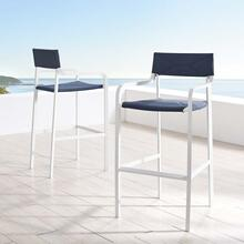 Raleigh Outdoor Patio Aluminum Bar Stool Set of 2 in White Navy