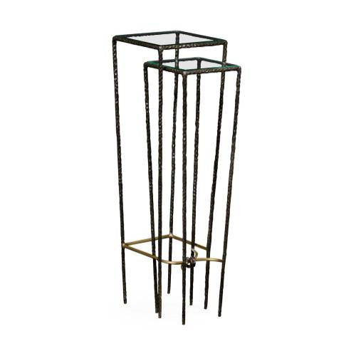 Bronze hammered nesting pedestal tables