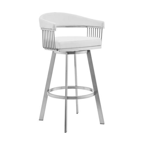 "Chelsea 26"" White Faux Leather and Brushed Stainless Steel Swivel Bar Stool"