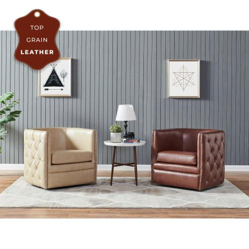 Product Image - Leslie Top Grain Leather Swivel Tufted Accent Arm Chair, Garrett Brown