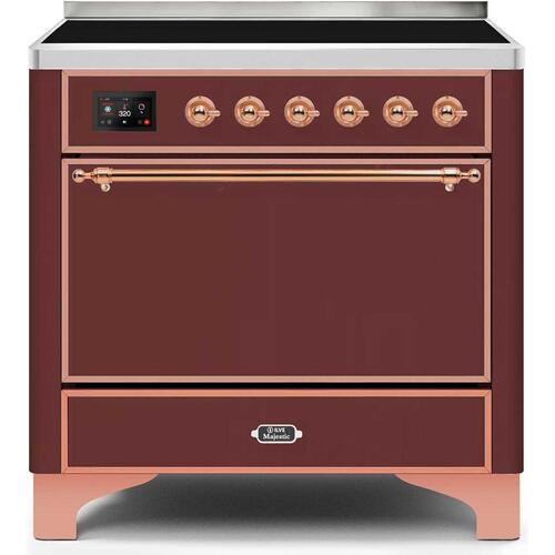 Majestic II 36 Inch Electric Freestanding Range in Burgundy with Copper Trim