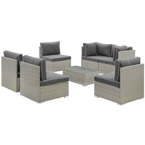 Repose 7 Piece Outdoor Patio Sectional Set in Light Gray Charcoal
