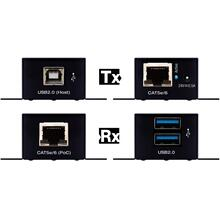 USB2.0 over CAT5e/6 50m Extender Kit (Tx and Rx). Rx features built-in 2 Port USB Hub, Power over CAT.