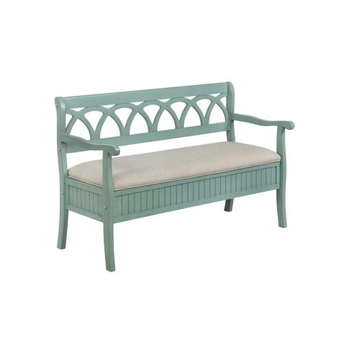 48-inch Lift Top and Upholstery Seat Storage Bench, Teal and Grey