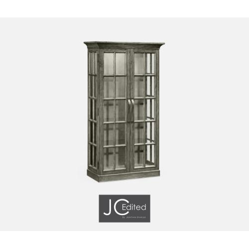 Plank Antique Dark Grey Fully Glazed Bookcase with Strap Handles