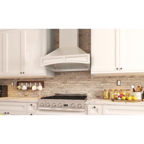 Zline Kitchen and Bath - ZLINE Wooden Wall Mount Range Hood in White - Includes Motor (321TT) [Size: 36 Inch]