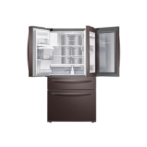 Samsung - 22 cu. ft. Food Showcase Counter Depth 4-Door French Door Refrigerator in Tuscan Stainless Steel