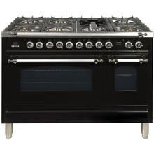 Nostalgie 48 Inch Dual Fuel Natural Gas Freestanding Range in Glossy Black with Chrome Trim