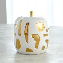 Abstract Jar-White/Gold-Lg