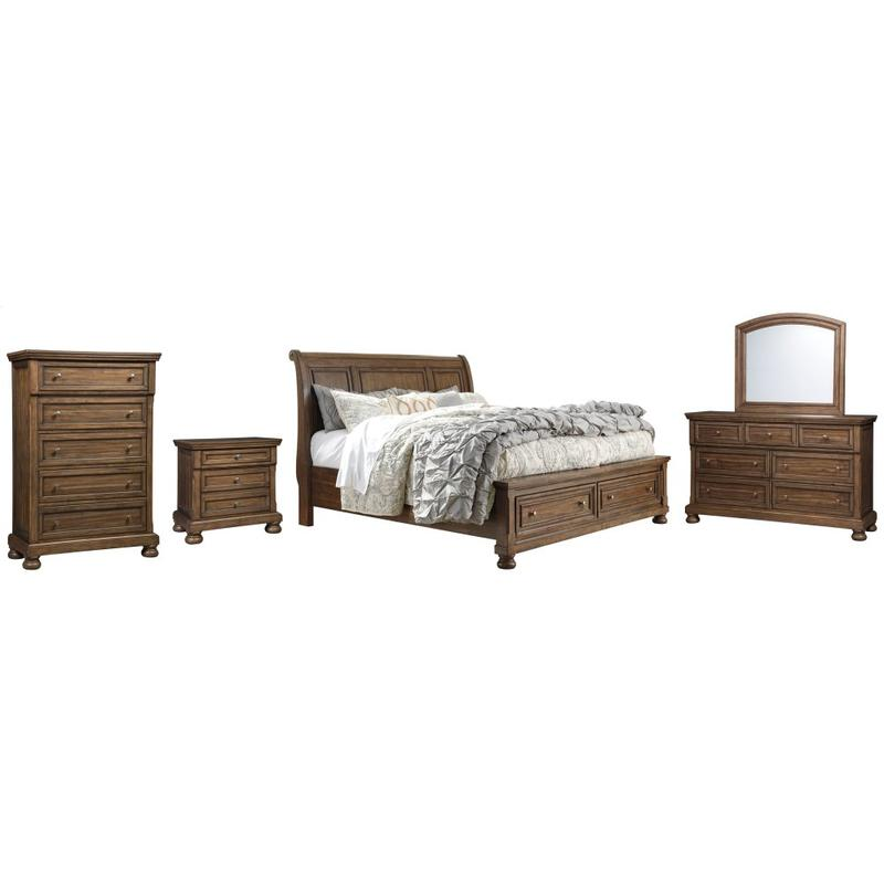 View Product - California King Sleigh Bed With 2 Storage Drawers With Mirrored Dresser, Chest and Nightstand