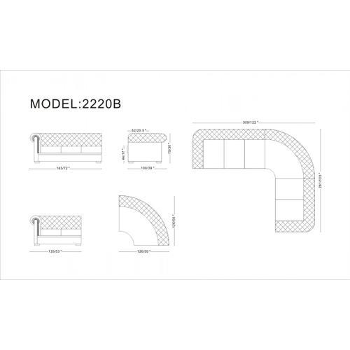 Divani Casa Paris 1 - Transitional Tufted Leather Sectional Sofa
