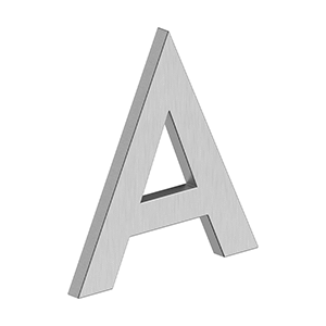 """Deltana - 4"""" LETTER A, B SERIES WITH RISERS, STAINLESS STEEL - Brushed Stainless"""