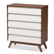 See Details - Baxton Studio Hildon Mid-Century Modern White and Walnut Wood 5-Drawer Storage Chest