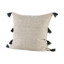 See Details - Charmaine 18.0L x 18.0W x 0.2H Beige and Black Fabric W/Fringe Decorative Pillow Cover