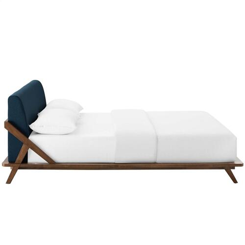 Luella Queen Upholstered Fabric Platform Bed in Walnut Blue