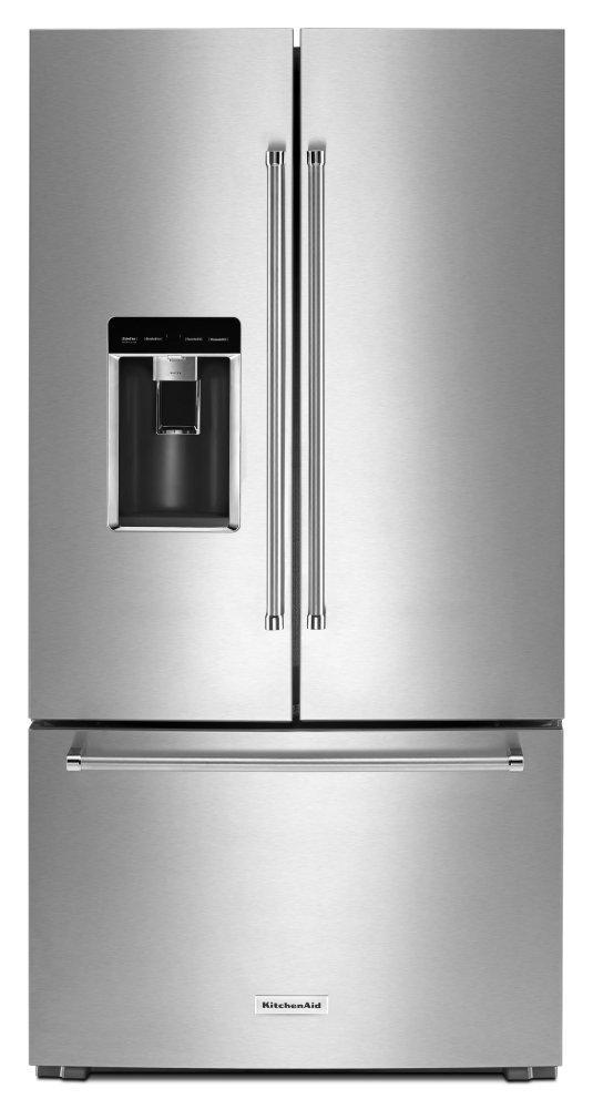 """Kitchenaid23.8 Cu. Ft. 36"""" Counter-Depth French Door Platinum Interior Refrigerator - Stainless Steel"""