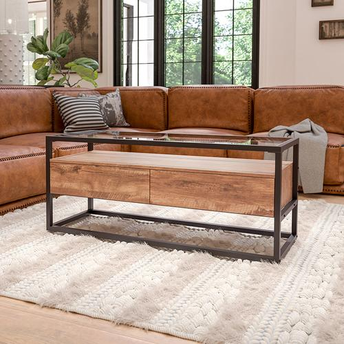 Flash Furniture - Cumberland Collection Glass Coffee Table with Two Drawers and Shelf in Rustic Wood Grain Finish