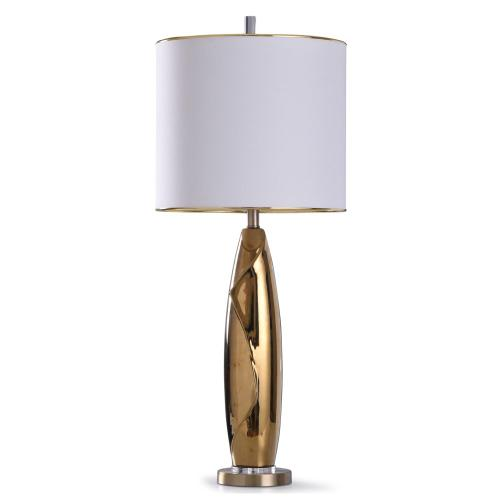 Product Image - Guildford Gold  37in Striking Gold Glazed Ceramic Table Lamp on Acrylic and Metal Base with Gold Tr