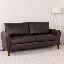 Milton Park Upholstered Plush Pillow Back Sofa in Brown LeatherSoft
