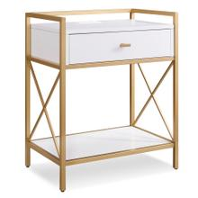 Gold Metal and White Night Stand/Side Table with Top AC/USB Charging #9069-WT