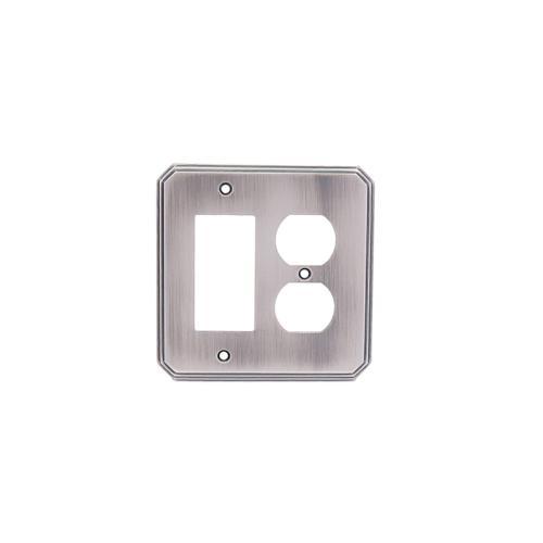 Single GFI/ Single Duplex Deco Switch Plate - Pewter