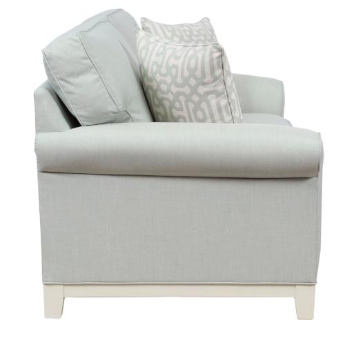 Loveseat, 5'' Plinth Base Available in Grey Wash, Cottage White, Royal Oak, Black Teak, White Teak, Vintage Smoke Finish.