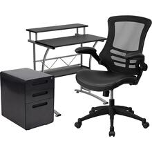 Work From Home Kit - Black Computer Desk, Ergonomic Mesh\/LeatherSoft Office Chair and Locking Mobile Filing Cabinet