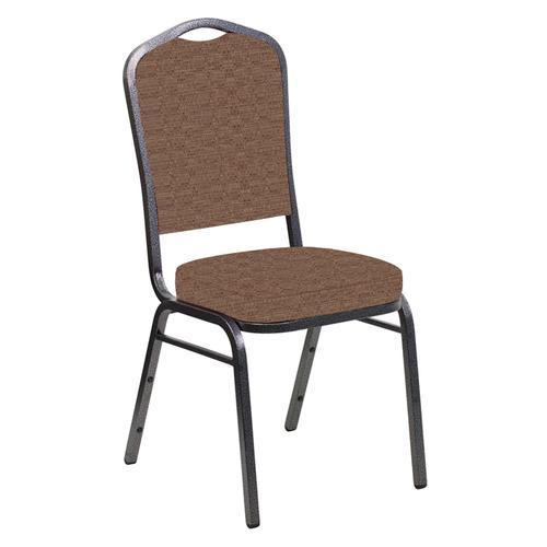 Crown Back Banquet Chair in Tahiti Mocha Fabric - Silver Vein Frame