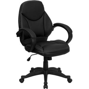 Mid-Back Black Leather Contemporary Executive Swivel Ergonomic Office Chair with Arms