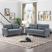 See Details - 8159 2PC DARK GRAY Polyester Tufted Back Sofa SET