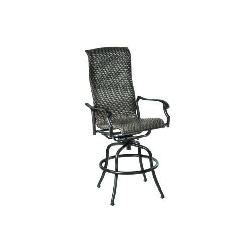Barbados Hi-Back Wicker Cast Swivel Bar Arm Chair