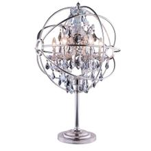 Geneva 6 light Polished nickel Table Lamp Silver Shade (Grey) Royal Cut crystal