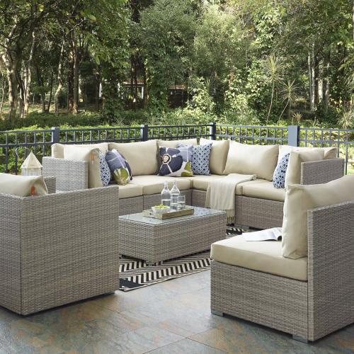 Repose 8 Piece Outdoor Patio Sunbrella® Sectional Set in Light Gray Beige