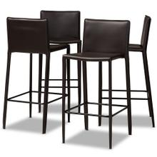 See Details - Baxton Studio Malcom Modern and Contemporary Brown Faux Leather Upholstered 4-Piece Bar Stool