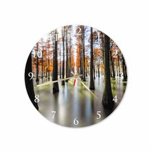 Orange Forest Round Square Acrylic Wall Clock