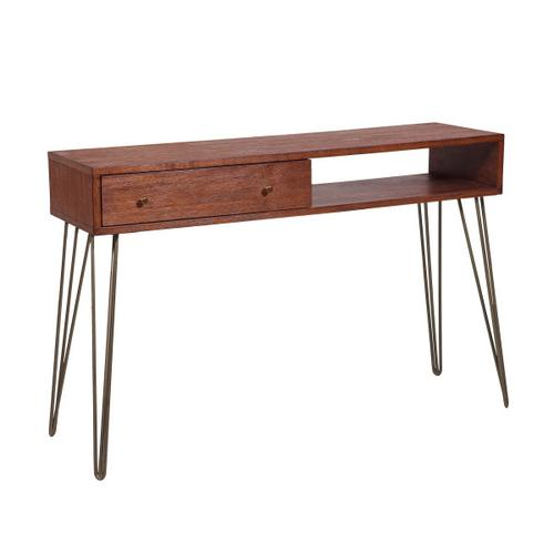 Mid-Century Modern Walnut Brushed Acacia One Drawer Accent Storage Console Table
