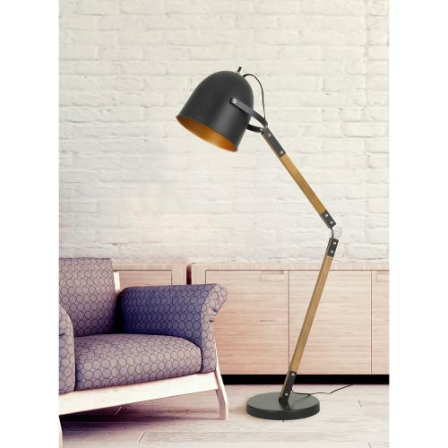 100W Binimi Adjust Able Wood/Metal Arc Floor Lamp With Metal Shade
